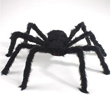 ASIBT New 75cm Large Black Realistic Fake Spider Plush Puppet Prank Jokes Toy Halloween Party Decorations Props