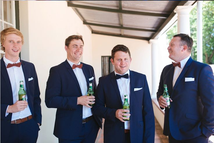 Peter and his groomsmen enjoying a beer before the wedding ceremony @DiamantEstate Photo by Jennie Kruger