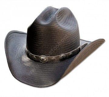 Corbeto's Boots | 50-BRONX | Sombrero cowboy Stars & Stripes paja negra unisex | Stars & Stripes crusable black straw cowboy hat for men and women.