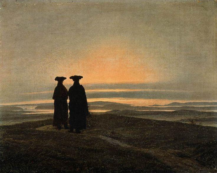Paesaggio di sera con due uomini, 1830-1835, olio su tela, Caspar David Friedrich. Museo statale Ermitage, San Pietroburgo, Russia.