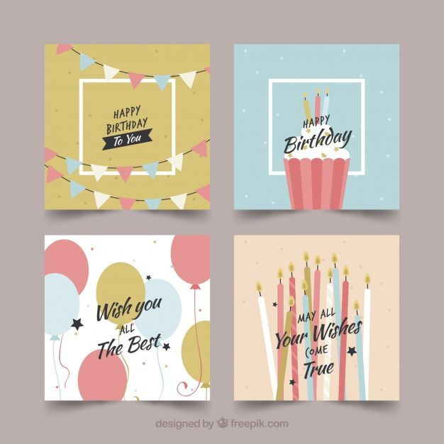 Collection Of Four Colourful Birthday Cards Download Thousands Of Free Vectors On Freepik The Finder Cool Birthday Cards Birthday Card Design Birthday Cards