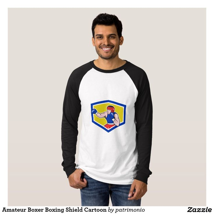 Amateur Boxer Boxing Shield Cartoon T Shirt. 2016 Rio Summer Olympics men's long sleeve shirt with an illustration of an amateur boxer wearing head gear and boxing gloves jabbing set inside a shield done in cartoon style. #boxing #olympics #sports #summergames #rio2016 #olympics2016