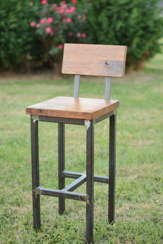 Madera y taburete acero reciclado de madera por ElpersDesign