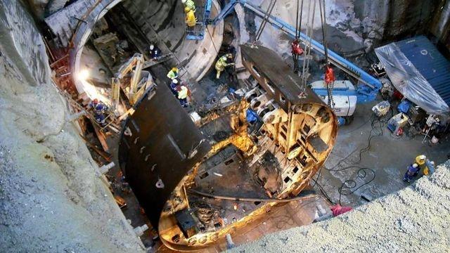 Desmontaje de la tuneladora del túnel de Maceiras en Vigo.