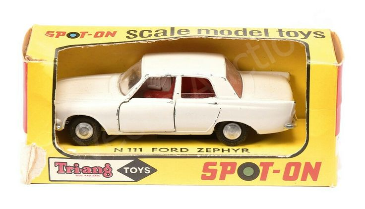 Spot On No.N111 (New Zealand) Ford Zephyr - cream body, red interior, cast spun hubs (without figures) - Good Plus in Fair to Good window box (require