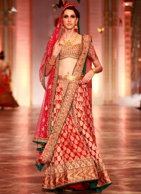 Banarasi Silk Bridal Lehenga with Stone Work