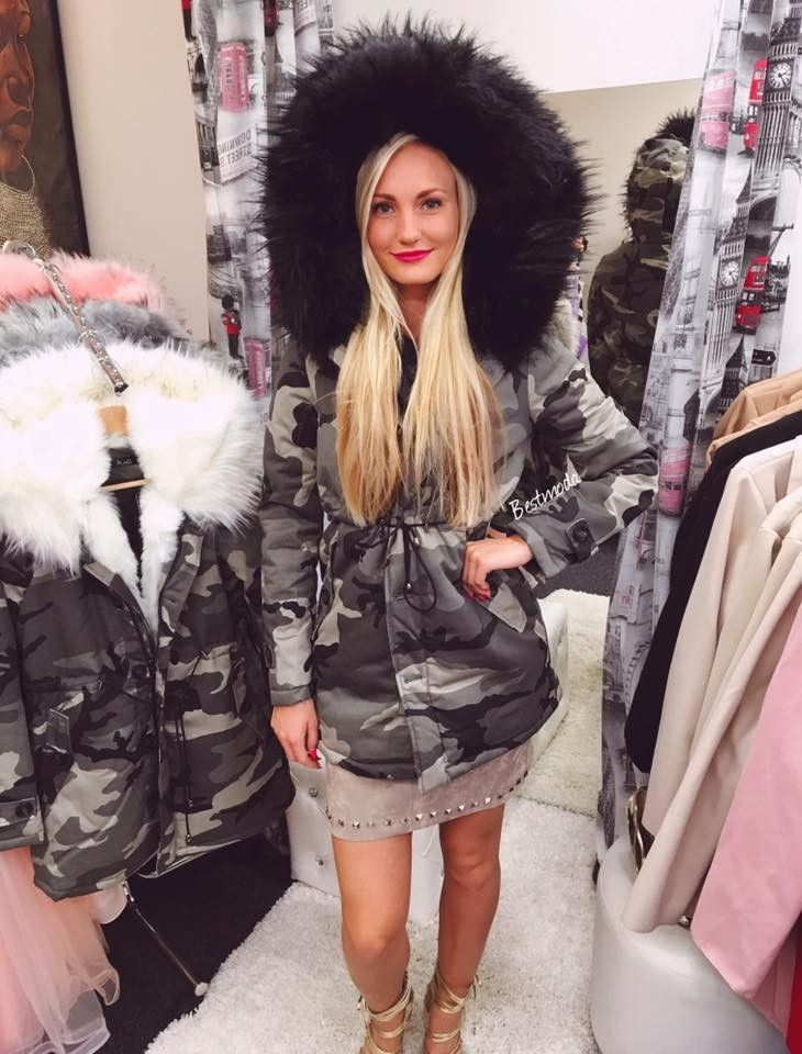 Army parka with black fur