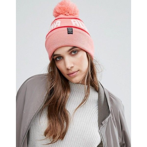 Pull&Bear Logo Beanie Hat (21 CAD) ❤ liked on Polyvore featuring accessories, hats, pink, brimmed beanie hats, logo hats, pink beanie hats, pink hat and bobble hat