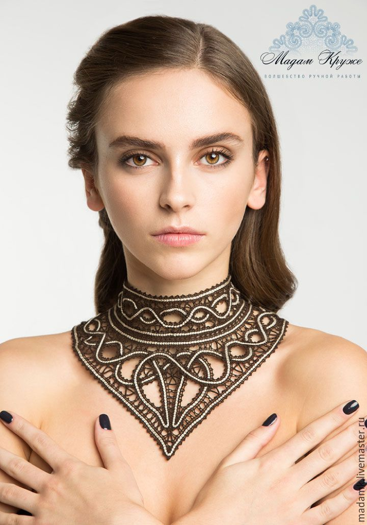 "Lace Necklace | Кружевное колье ""Нефертити"" Вологодское кружево - кружевное колье, кружевное ожерелье, вологодское кружево"