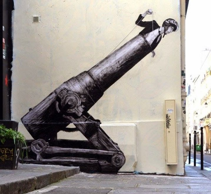 """new today - """"Faster"""" by Levalet in Rue Marais, Paris - 4/21/15 (LP)"""