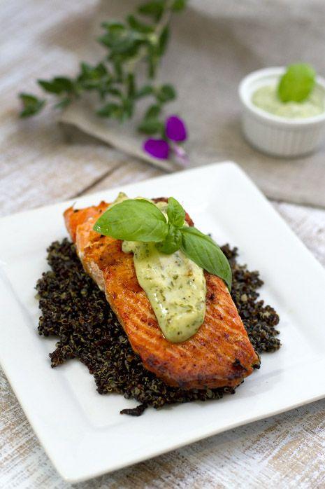 Wild Salmon with Basil Aioli Sauce