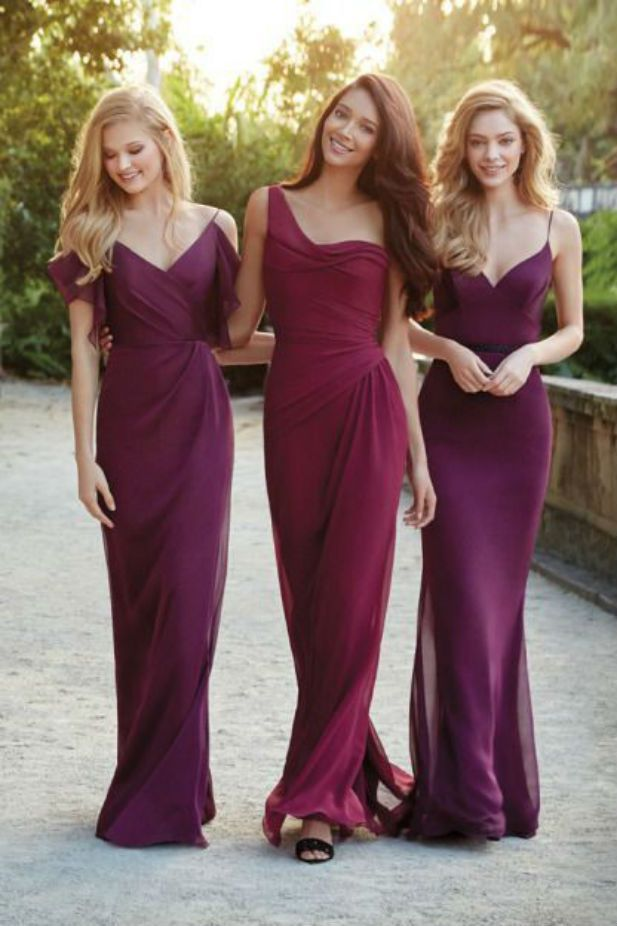 Berry colored long bridesmaid dresses