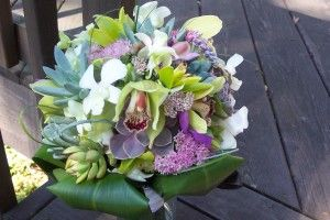 Green & purple orchid and succulent bouquet