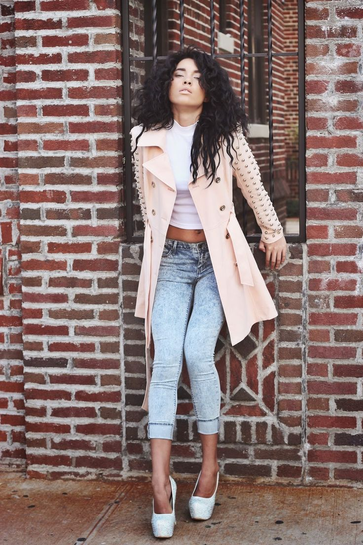 Shop this look on Lookastic:  http://lookastic.com/women/looks/pink-trenchcoat-white-cropped-top-silver-pumps-light-blue-skinny-jeans/5214  — Pink Trenchcoat  — White Cropped Top  — Silver Embellished Leather Pumps  — Light Blue Skinny Jeans