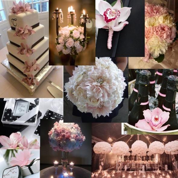 white and blush pink wedding bouquets | Inspiration: Black White and Blush « Weddingbee Bios