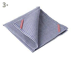3 Torchons JUAN coton, bleu et blanc - L60
