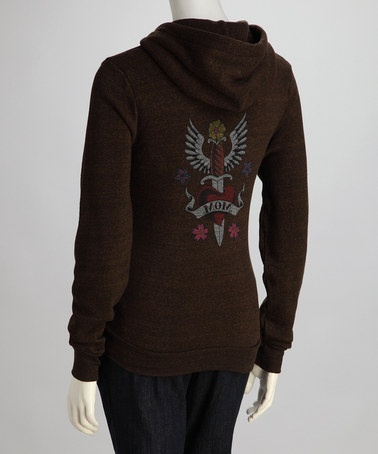 Take a look at this Heathered Brown Fierce Love Maternity Zip-Up Hoodie - Women by Hot Mama Ink on #zulily today!