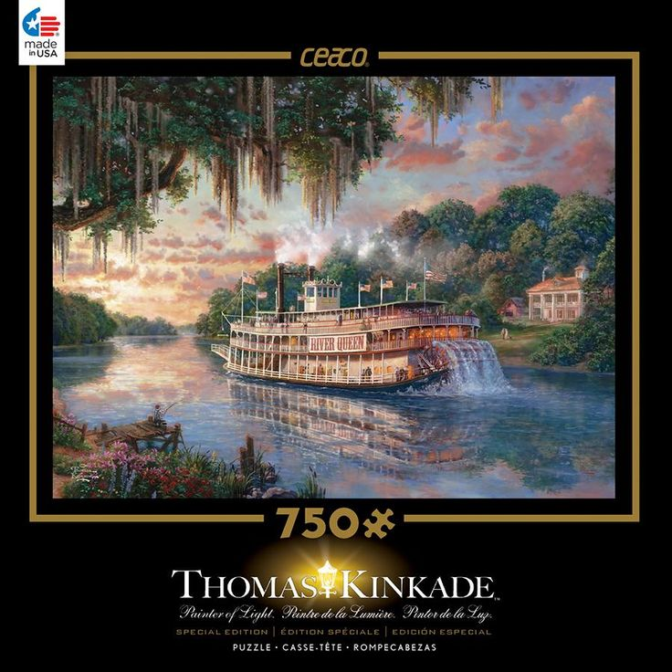 Thomas Kinkade Deluxe Metallic- The River Queen - 750 Piece Puzzle