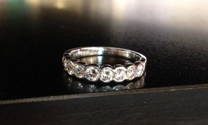 Here is a handmade 18ct, diamond set white gold Eternity ring, designed and crafted by our goldsmith, Steven Geldof.