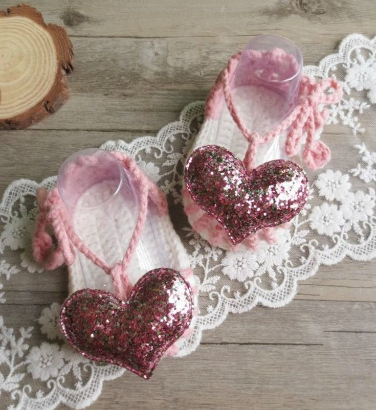 Hand Knitted Baby Shoes-Handmade-Cute & Comfortable Newborn Baby Pre walker Infant Hand Knitted Gold Heart Baby Sandals