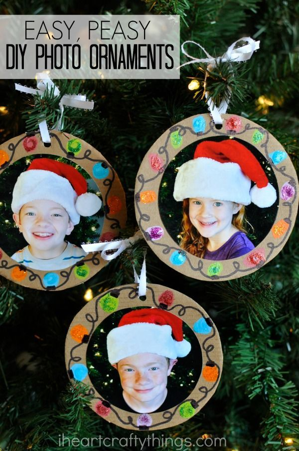 Nice Ornament Craft Ideas For Kids Part - 7: Easy DIY Christmas Photo Ornaments