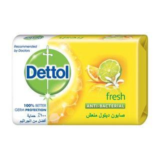 صابون ديتول منعش المضاد للبكتريا، بعطر الحمضيات المنعشة يساعد البشرة على الاحتفاظ برطوبتها بينما يقوم بحمايتك من الجراثيم