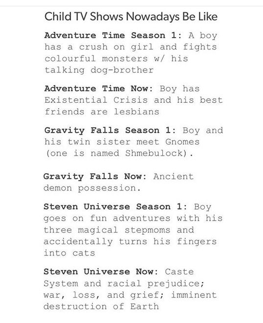 I don't watch Steven Universe, I stopped watching Adventure Time, but Gravity Falls is rly accurate