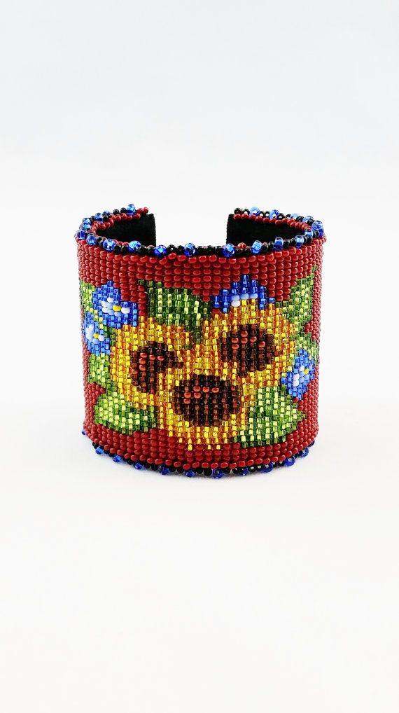 BEADED LOOMED CUFF Bracelet, Country Sunflowers Beaded Cuff Bracelet