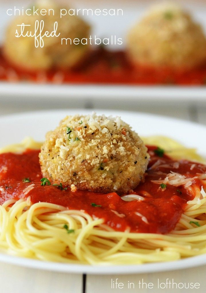 Chicken Parmesan Stuffed Meatballs. These are amazing. Packed with so much flavor and mozzarella cheese! - Life In The Lofthouse
