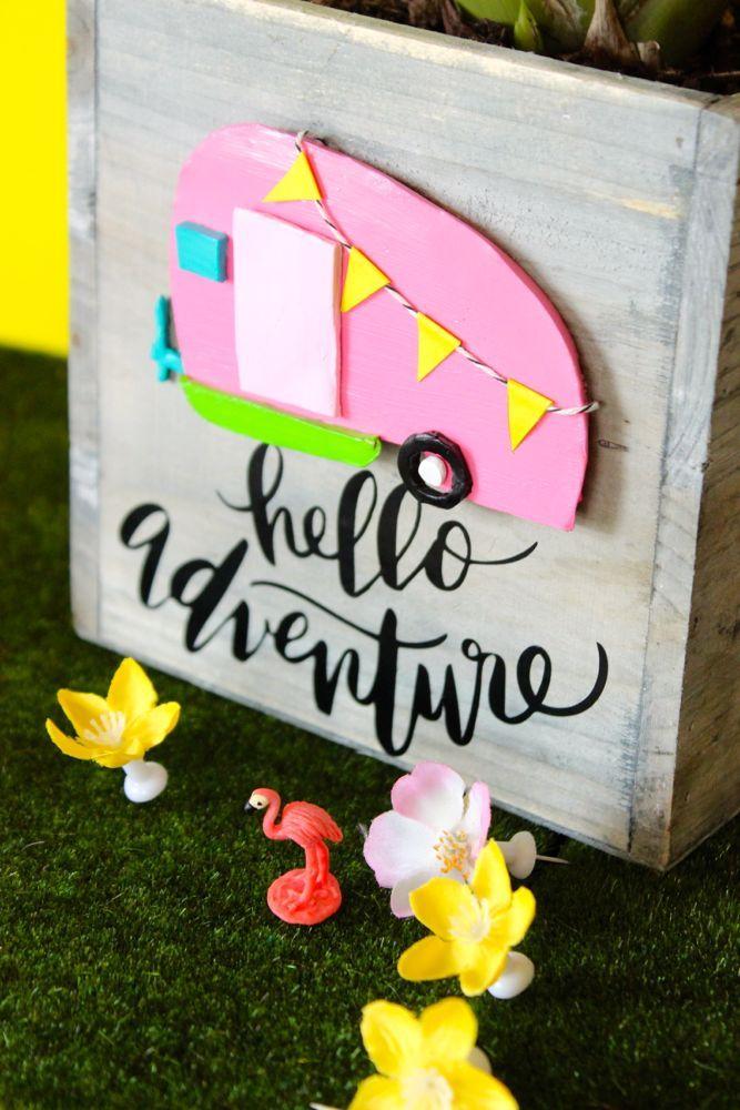 Hello Adventure Retro Camper Planter Box - J. Sorelle