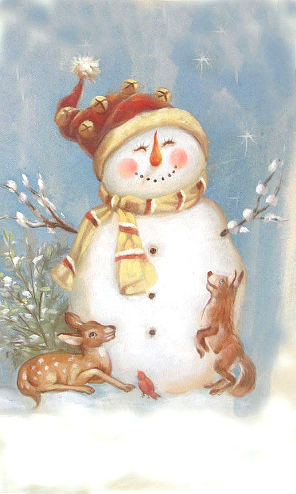 Deer, Bird and Dog Play with Snowman