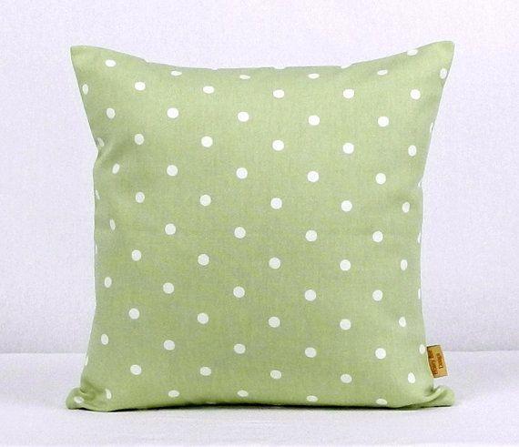 Green Throw Pillow, Sage Green, Decorative Throw Pillow Cover with white polka dot spots,Throw Pillow cover 16x16,.Handmade,honeybeedesign20...