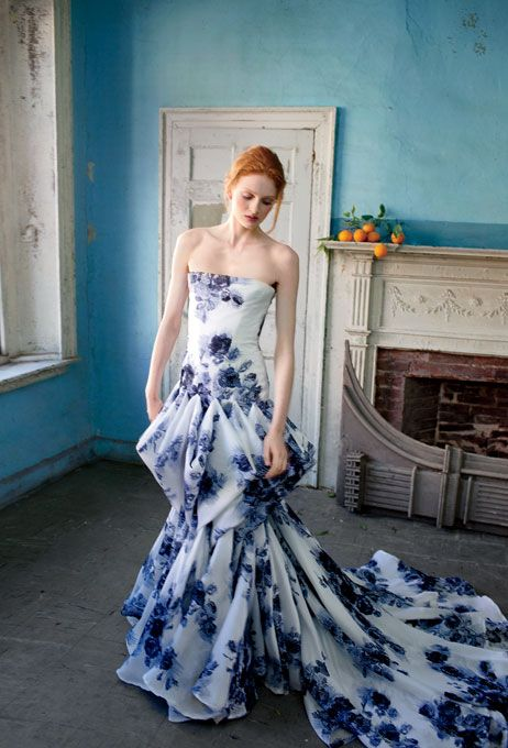 Douglas Hannant blue wedding dress (Photo: Charlie Engman) Omg I have been looking for a wedding dress that is cobalt or navy blue entirely but I could totally go this direction! What a perfect southern belle dress!