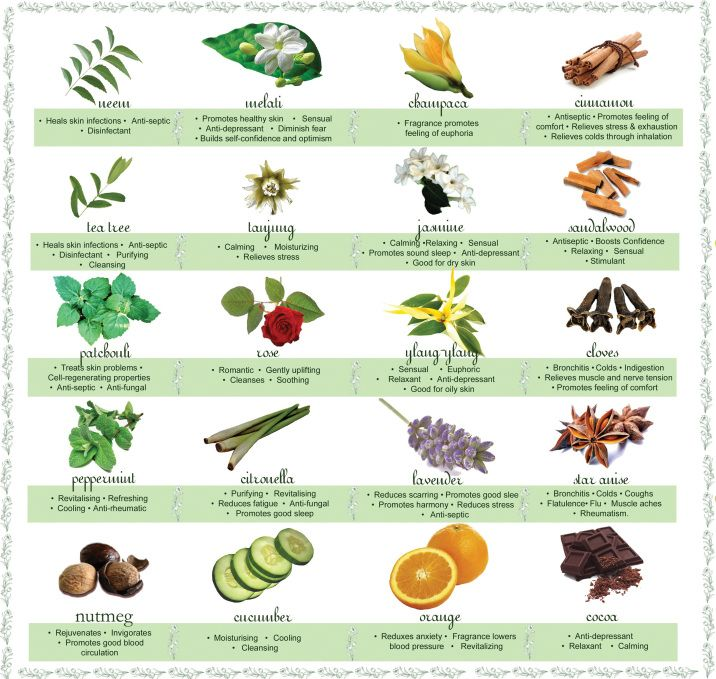 What information is included on an aromatherapy essential oils chart?