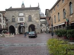 piazza vecchia in the upper town bergamo. historical square of the town