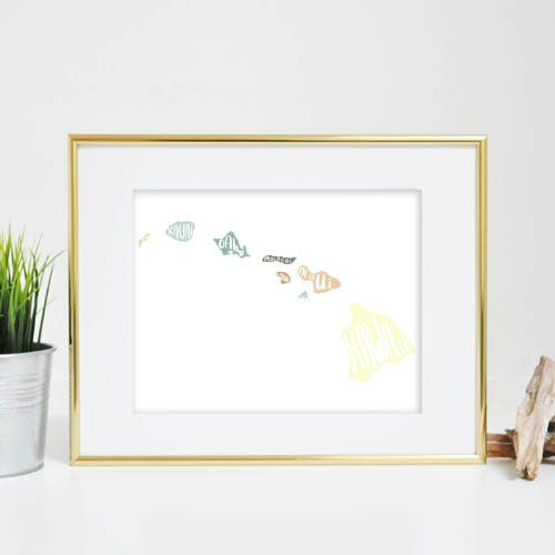 Nothing says aloha quite like this Hawaiian islands print. This wall artwork features the islands in bright colors, with the name of each island hand lettered over the top. It's the perfect way to remember a fun trip or the place you call home!