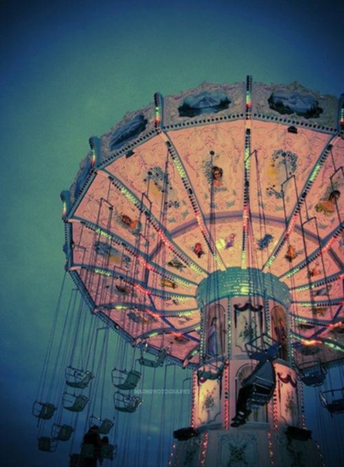 beautifulSummer Fair, Colors, Swings, Amusement Parks, Pink, Carousels, Carnivals Riding, Ferris Wheels, Summer Night