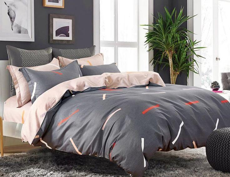 Obojstranné sivé posteľné obliečky so vzorom