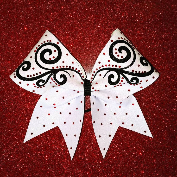 Red Rhinestone, Black Swirl & White Bow by Just Cheer Bows