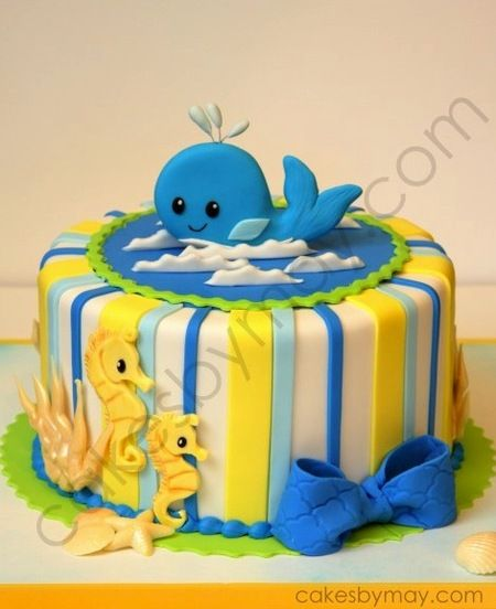 Whale Tails! Seahorses! I don't care if this is a children's cake...I need one! By Cakes By Maylene via Sunday Sweets: Polar Opposites