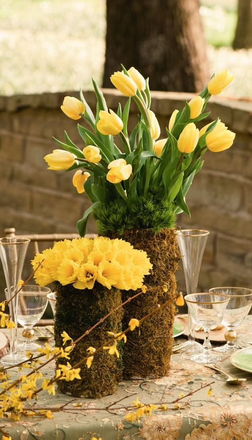spring tulip centerpiece....  www.tablescapesbydesign.com https://www.facebook.com/pages/Tablescapes-By-Design/129811416695