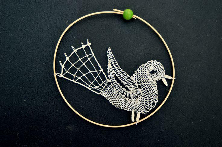 paličkovaný ptáček/ bobbin lace bird