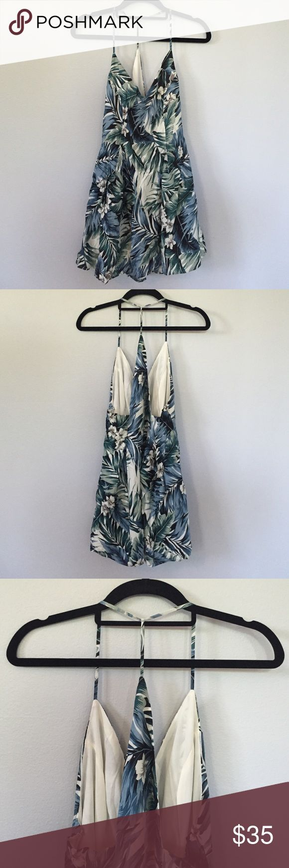 """NWT Tobi Hawaiian Print Dress This is the """"See You At Sunset"""" day dress from Tobi. Super cute light blue/green/ivory Hawaiian print mini dress perfect for summer. Unique and stylish open back design. It was originally $42 plus shipping + handling. Brand new, it has never been worn and tags are still on!  Tobi Dresses Mini"""