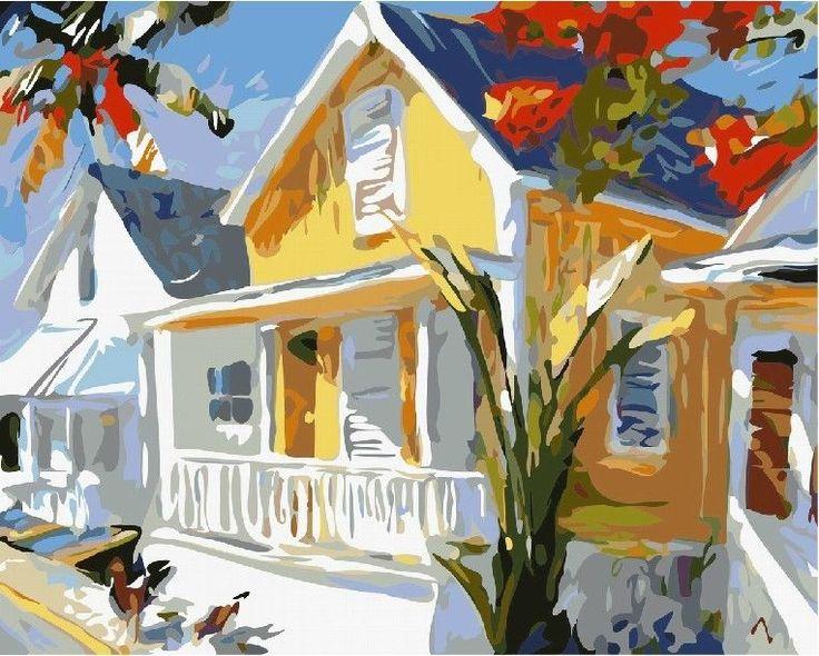Acrylic Paint By Number Kit 50x40cm 20x16 Island Folk House Diy Lg7016