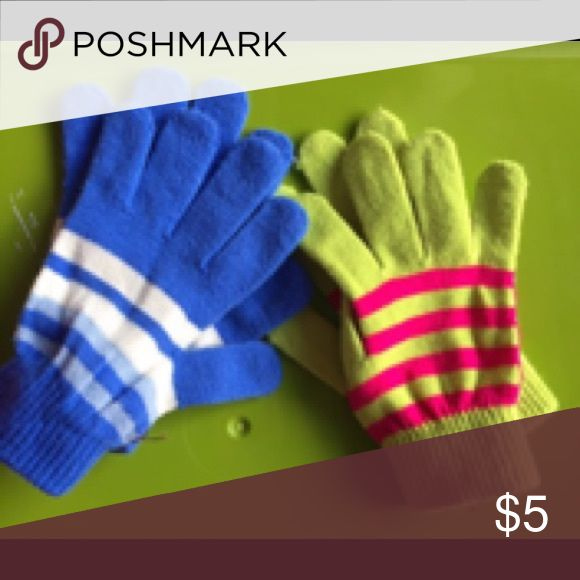 Bundle of gloves Pair of blue and white and pair of yellow/green and hot pink Accessories Mittens