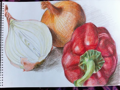 Colour Pencil Drawing. OCA Learning Blog - Drawing 1: Assignment 3 - Drawing Fruit and Vegetables in Colour