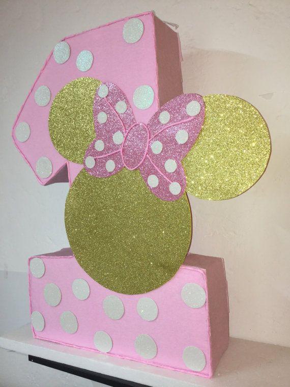 Minnie mouse numero piñata. rosa y oro minnie mouse por aldimyshop                                                                                                                                                                                 Más