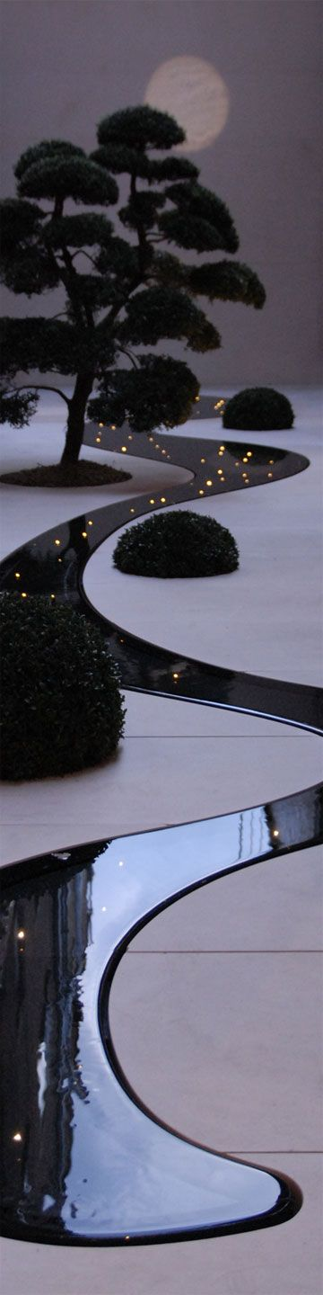 flat LED lighting water feature