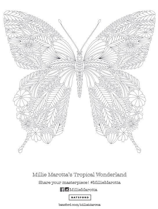 Butterfly Pattern Free Download #AdultColouring #MillieMarotta #Zentangle
