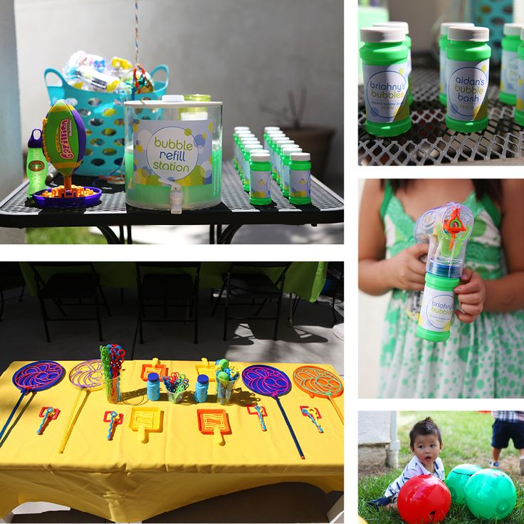 Bubble refill station, bubble wand table and personalized bubbles for the kids